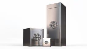 3 сейфа металла безопасностью приближают к одину другого Иллюстрация штока