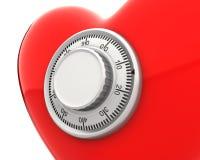 сейф замка сердца крупного плана численный красный Иллюстрация штока