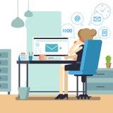 Секретарша женщины или женский личный помощник занятые Молодой multitasking менеджера офиса или работник службы рисепшн Cle дамы  иллюстрация вектора