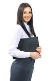 Секретарша женщины с документами на предпосылке  Стоковая Фотография