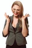 Секретарша, красивая блондинка в деловом костюме Стоковое фото RF