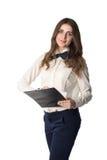 Секретарша с доской сзажимом для бумаги Стоковое фото RF