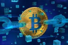 Секретная валюта Цепь блока Bitcoin равновеликое физическое золотое bitcoin 3D с цепью wireframe и цифровыми блоками Blockchain c стоковая фотография