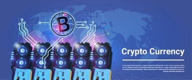 Секретное минирование Bitcoin валюты обрабатывая землю горизонтальная концепция денег сети цифров предпосылки карты мира знамени Стоковая Фотография RF