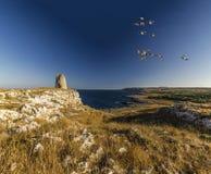 Секретный взгляд панорамы seascape пляжа Стоковые Изображения RF
