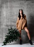 Сексуальная ель рождества владением женщины хипстера в связанной блузке свитера готовой для торжества Нового Года стоковое изображение