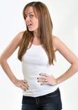 сексуальная женщина бака верхняя белая стоковое изображение