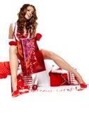 Сексуальная женщина нося costume Santa Claus Стоковое Изображение