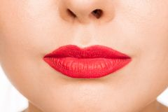 Сексуальная красная губа r стоковая фотография