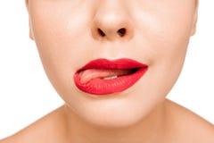 Сексуальная красная губа r стоковые фото