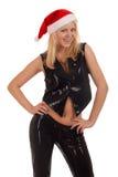 Сексуальная молодая белокурая женщина в шлеме Санта Стоковое Изображение