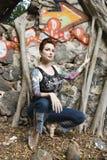 сексуальная татуированная женщина Стоковые Фотографии RF
