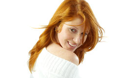 сексуальное волос девушки красное Стоковое Фото