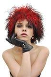 сексуальное красивейшего шлема девушки красное Стоковое фото RF