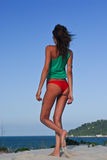 сексуальное модели бикини пляжа красное Стоковая Фотография RF