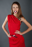 сексуальное модели девушки платья красное Стоковые Фото