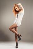 сексуальное способа с волосами модельное красное Стоковое Изображение RF