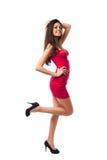 сексуальное шикарной повелительницы платья красное Стоковое фото RF