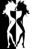 сексуальные женщины силуэта Стоковое Изображение RF