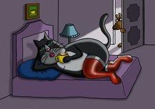 Сексуальный кот кладет в кровать бесплатная иллюстрация