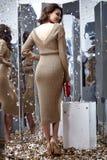 Сексуальный милый Д-р носки женщины волос брюнет фотомодели бежевый длинный Стоковые Изображения RF