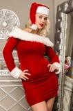 Сексуальный представлять девушки рождества белокурая женщина одетая как Санта перед камерой Стоковые Фото