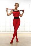Сексуальная белокурая совершенная атлетическая тонкая диаграмма тренировка или fitnes йоги Стоковые Фотографии RF