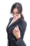 Сексуальная бизнес-леди вызывая жест используя палец Стоковая Фотография