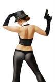 Сексуальная девушка в костюме гангстеров с оружием Стоковое Изображение RF