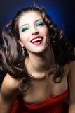 Сексуальная девушка красоты с красными губами Стоковые Изображения RF