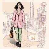 Сексуальная девушка моды в стиле эскиза на город-предпосылке illustratoin золота монеток вектор портмона полного померанцовый Стоковые Изображения RF