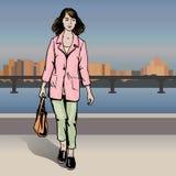 Сексуальная девушка моды в стиле эскиза на город-предпосылке illustratoin золота монеток вектор портмона полного померанцовый Стоковое фото RF
