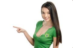 Сексуальная девушка указывая в фронт. стоковые изображения rf