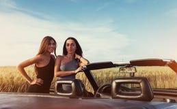 Сексуальная женщина брюнет 2 стоя около ее автомобиля Стоковые Фотографии RF