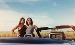 Сексуальная женщина брюнет 2 стоя около ее автомобиля Стоковое Фото