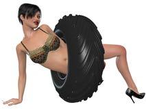Сексуальная женщина представляя с колесом Стоковые Изображения