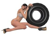 Сексуальная женщина представляя с колесом Стоковая Фотография RF