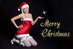 Сексуальная женщина Санта Клаус Стоковые Фото