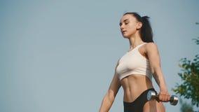 Сексуальная женщина спортсмена брюнет в sportswear делая тренировки с гантелями внешними на горном пике Ясное голубое небо акции видеоматериалы