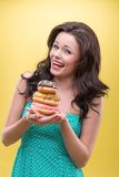 Сексуальная женщина с помадками Стоковое Фото