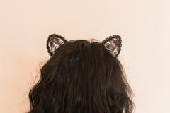 Сексуальная женщина с ушами кота Стоковые Изображения