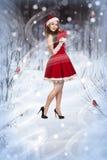 Сексуальная и красивая девушка Санты Стоковое Изображение RF