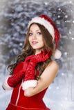 Сексуальная и красивая девушка Санты Стоковые Изображения RF