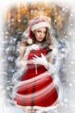 Сексуальная и красивая девушка Санты Стоковая Фотография RF