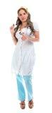 Сексуальная медсестра стоя на белой предпосылке Стоковые Фото