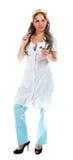 Сексуальная медсестра стоя на белой предпосылке Стоковое фото RF
