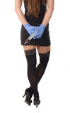 Сексуальная медсестра с большим шприцем стоковое изображение