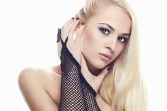 Сексуальная молодая женщина Перчатки девушки нося Стоковое Изображение RF
