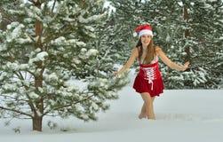 Сексуальная молодая Santa-девушка Стоковые Изображения