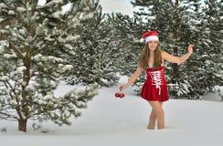 Сексуальная молодая Santa-девушка Стоковое Изображение RF